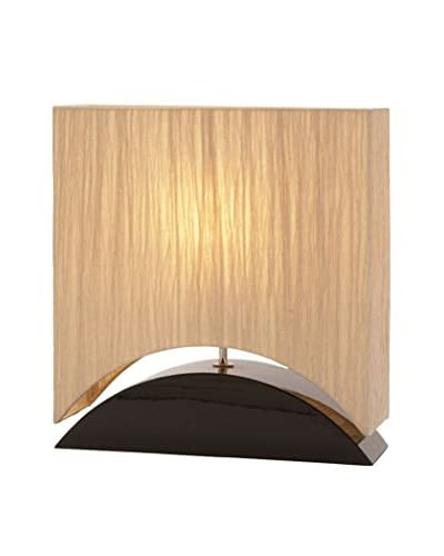 Curved 1-Light Rectangular Table Lamp, Dark Wood