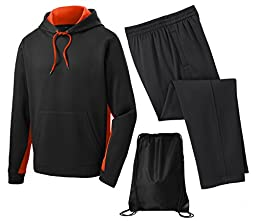 Sport Tek Men\'s Sport Wick Fleece Tracksuit, 3XL, Orange/Black