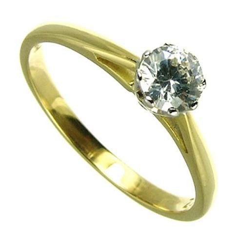 9ct Yellow Gold Ladies 1/2 Carat Solitaire Diamond Ring