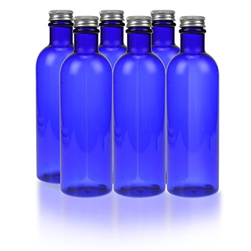 8 oz Cobalt Blue Plastic Bottle with Silver Twist On Caps (Pack of 6) (Plastic 10 Oz Jar compare prices)