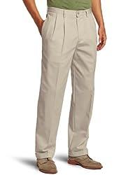 IZOD Men's American Chino Pleated Pant, Khaki, 34x32