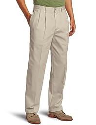 IZOD Men\'s American Chino Pleated Pant, Khaki, 38x32