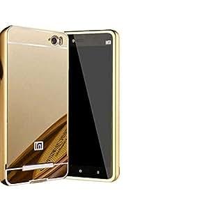 FashionBazar Luxury Metal Bumper + Acrylic Mirror Back Cover Case For Xiaomi Redmi Mi4i Gold by FashionBazar Store