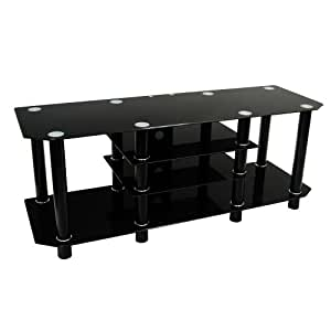 60-Inch Black Glass Metal TV Stand