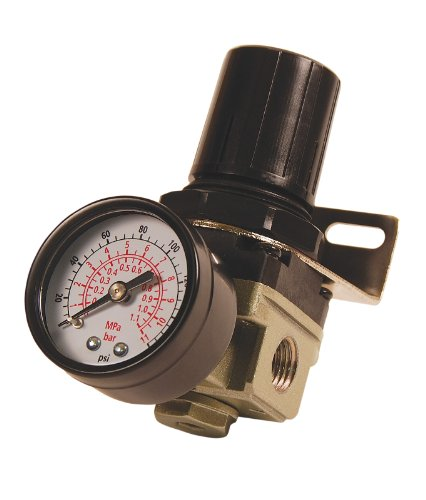 Primefit Primefit R1401G Mini Air Regulator with Steel-Protected Gauge, 60-SCFM at 100-PSI, 1/4-Inch NPT
