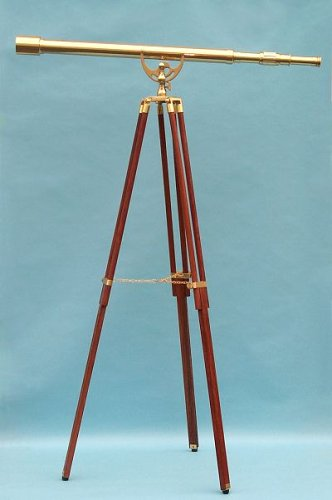 44-Inch Clear Coated Solid Brass Premium Harbormaster Telescope With Arc Mount