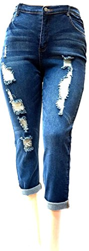 Davido womens Plus Size RIpped Blue Denim Roll up Skinny Distressed Jeans Pants