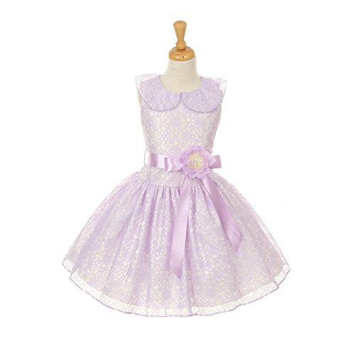 Cinderella Couture Little Girls Lilac Floral Lace Skater Occasion Dress 2-6