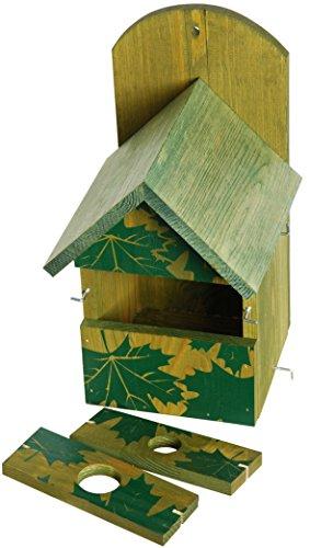 dobar-22158e-Dekorativer-Nistkasten-fr-Vgel-aus-Holz-Kiefer-Massivholz-fr-Garten-Balkon-3-variable-Einfluglcher-Motiv-Ahorn-Nisthilfe-Vogelhaus