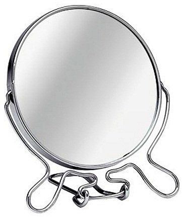 Double Sided Cosmetic Shaving Bathroom Mirror Small Size With Chrome Wire Stand