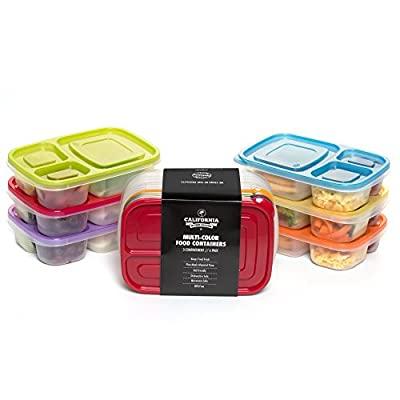 [6 Pack] Premium Eco Friendly 3-Compartment Bento Lunch Box Containers for Kids, Multi Color, Microwave, Dishwasher Safe & Reusable ● By California Home Goods