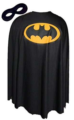 Black Batman Fancy Dress Cape Super Hero Superheroes Capes FREE MASK[48
