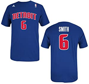 Detroit Pistons Josh Smith Blue Name and Number T-Shirt by adidas