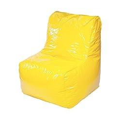 Gold medal Sectional Wet Look Vinyl Bean Bag Chair, Yellow