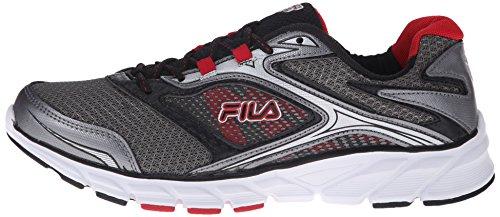 Fila Men's Stir Up Running Shoe, Dark Silver/Black/Fila Red, 10.5 M US