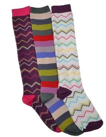 3 Pairs of Ladies Long Socks - Knee High Boot socks