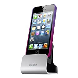 Belkin Charger and Sync Dock with Audio Port for iPhone 5, 5S and iPod touch 5th Generation - Retail Packaging - Silver