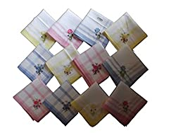 Milano Floral Embroidery 100% cotton Ladies hankies (12 pcs)