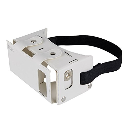 TOCHIC Best New Waterproof PU leather DIY 3D VR Box Google Virtual Reality Headset Glasses Cardboard Movie Game for Smartphones with Headband (White)