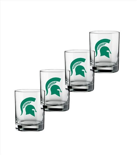 NCAA Michigan State Spartans Set of 4 Double Old Fashioned Glasses, 14-Ounce