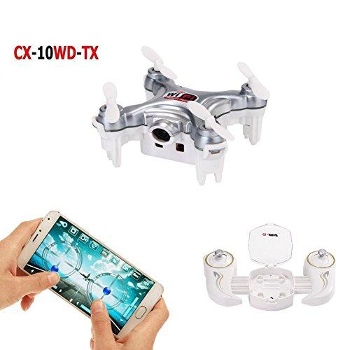 Cheerson CX-10WD-TX Wifi FPV Mini Drone with Remote Control 2.4G 4CH 6Aixs RC Quadcopter RTF Camera Live Video One With USB2.0 Memory Card Reader-Dark Grey