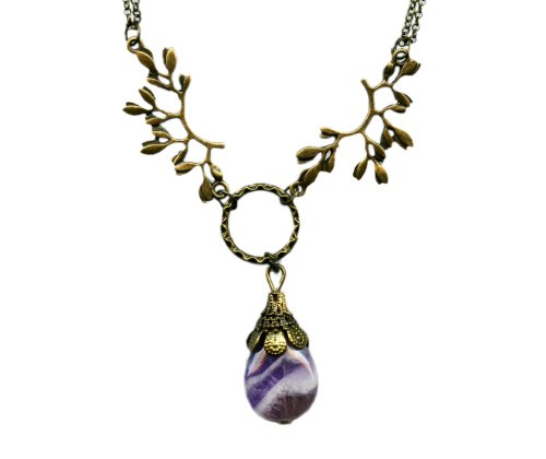 Amethyst and Brass Leaf Branches Antiqued Bronze Necklace 20 Inches