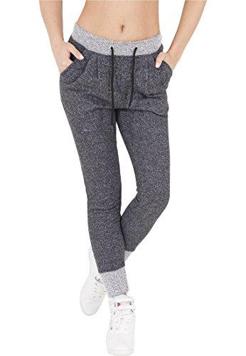Urban Classics Ladies Melange Contrast Sweatpants Pantaloni jogging donna blu navy/grigio XL