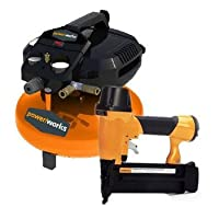 Powerworks 41282 3 Gallon Pancake Air Compressor with Brad Nailer and 10-Piece Accessory Kit by Powerworks