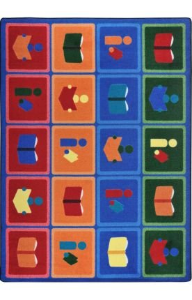 "Joy Carpets Kid Essentials Early Childhood Library Blocks Rug, Multicolored, 10'9"" x 13'2"""