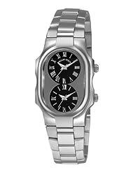 Philip Stein Women's 1GCBSS Tesslar Black Dual Time Dial Watch