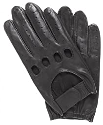 Pratt and Hart Men\'s Leather Driving Gloves with Velcro Strap Size M Color Black