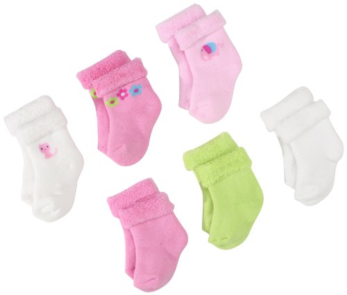 Gerber Baby-Girls  6 Pack Variety Socks, Pink/White, 0-3 Months