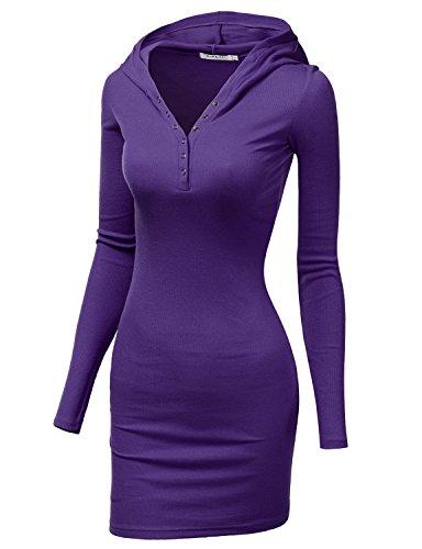 Doublju Womens Slim Fit Cotton Long Sleeve Mini Dress PURPLE,XL