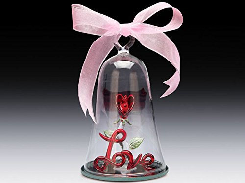 Glass RED ROSE LOVE IN BELL DOME Base Decorative Glass Figurine Ornament 5
