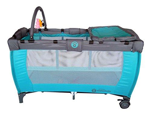 Zwillings-Kinderbett-Reisenden-Kanarienvgel-trkis