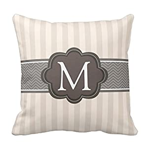 Amazon.com - Decors Elegant Ivory Beige Stripes Brown Custom Monogram Throw Pillow Case Cushion ...