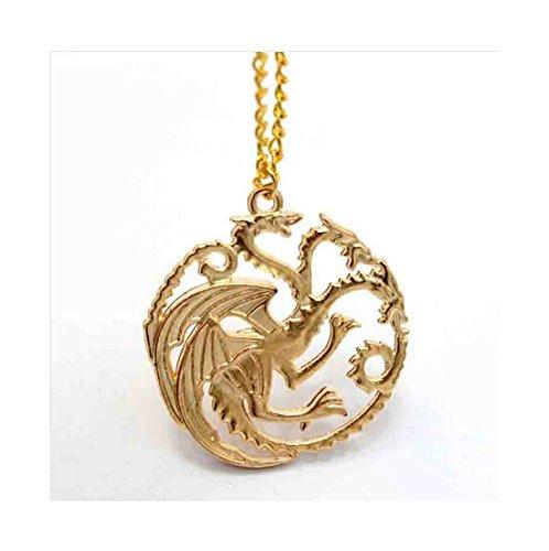 Spedito da ITALIA - Collana Pendente ciondolo tre draghi di metallo GAME OF THRONES colore oro. Trono di spade targaryen.