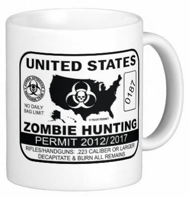 Pair Of Zombie Hunting Permit 15 Ounce Coffee Mugs - Custom Coffee / Tea Cups - Dishwasher And Microwave Safe