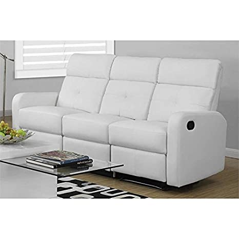 Monarch Specialties Reclining - Sofa White Bonded Leather