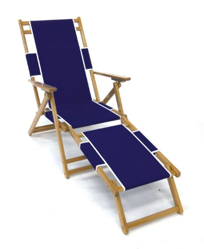 Black friday heavy duty wood beach chaise lounger in navy - Chaise black friday ...