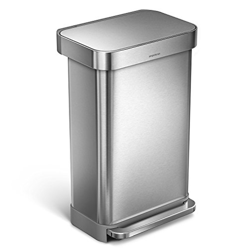 simplehuman 45L Rectangular Step Trash Can with Liner Pocket, Nano-Silver Clear Coat Brushed Stainless Steel, 45 Liter / 11.9 Gallon (Rectangle Garbage Can compare prices)