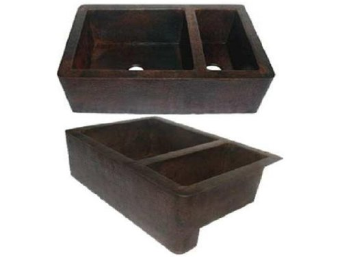 Farmhouse 75/25 Apron Copper Sink - Dark - Large 35