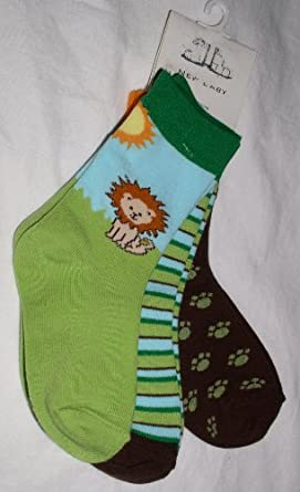 New Baby Little Boys Crew Socks, 3 Pair, Lion/Assorted, Size: 2-4yrs