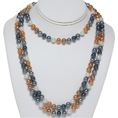 8mm 60 Inch Multi Color Double Knotted Glass Pearl Fashion Necklace Jewelry