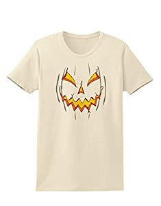 Scary Glow Evil Jack O Lantern Pumpkin Womens T-Shirt - Natural - XL
