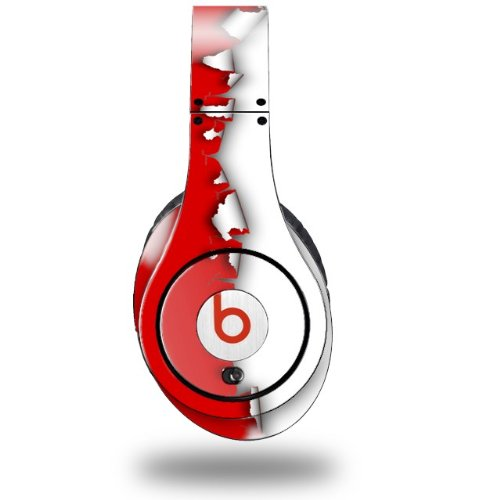 Ripped Colors Red White Decal Style Skin (Fits Original Beats Studio Headphones - Headphones Not Included)