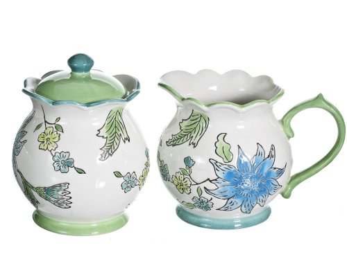Gracie China Dutch Wax Hand Paint Ceramic Sugar And Creamer 2-Piece Set Turquoise Daisy