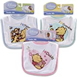 Winnie the Pooh with Applique Baby Bib (I Love Mom, I Love Grandma, I Love Daddy) (Pink - I Love Daddy)