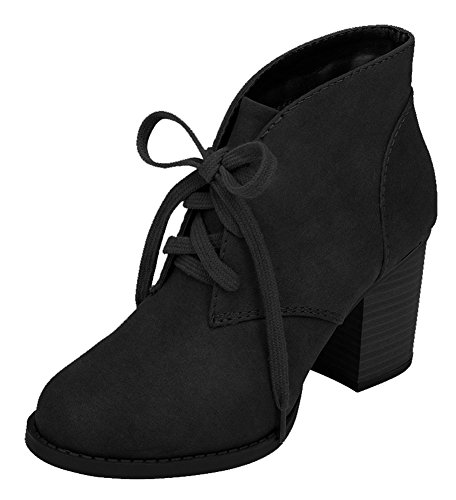 Delicious-by-Soda-Womens-Ripley-Sueded-Lace-Up-Chunky-Stacked-Heel-Ankle-Bootie