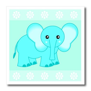 Ht_6099_1 Janna Salak Designs Jungle Animals - Blue Baby Elephant - Iron On Heat Transfers - 8X8 Iron On Heat Transfer For White Material